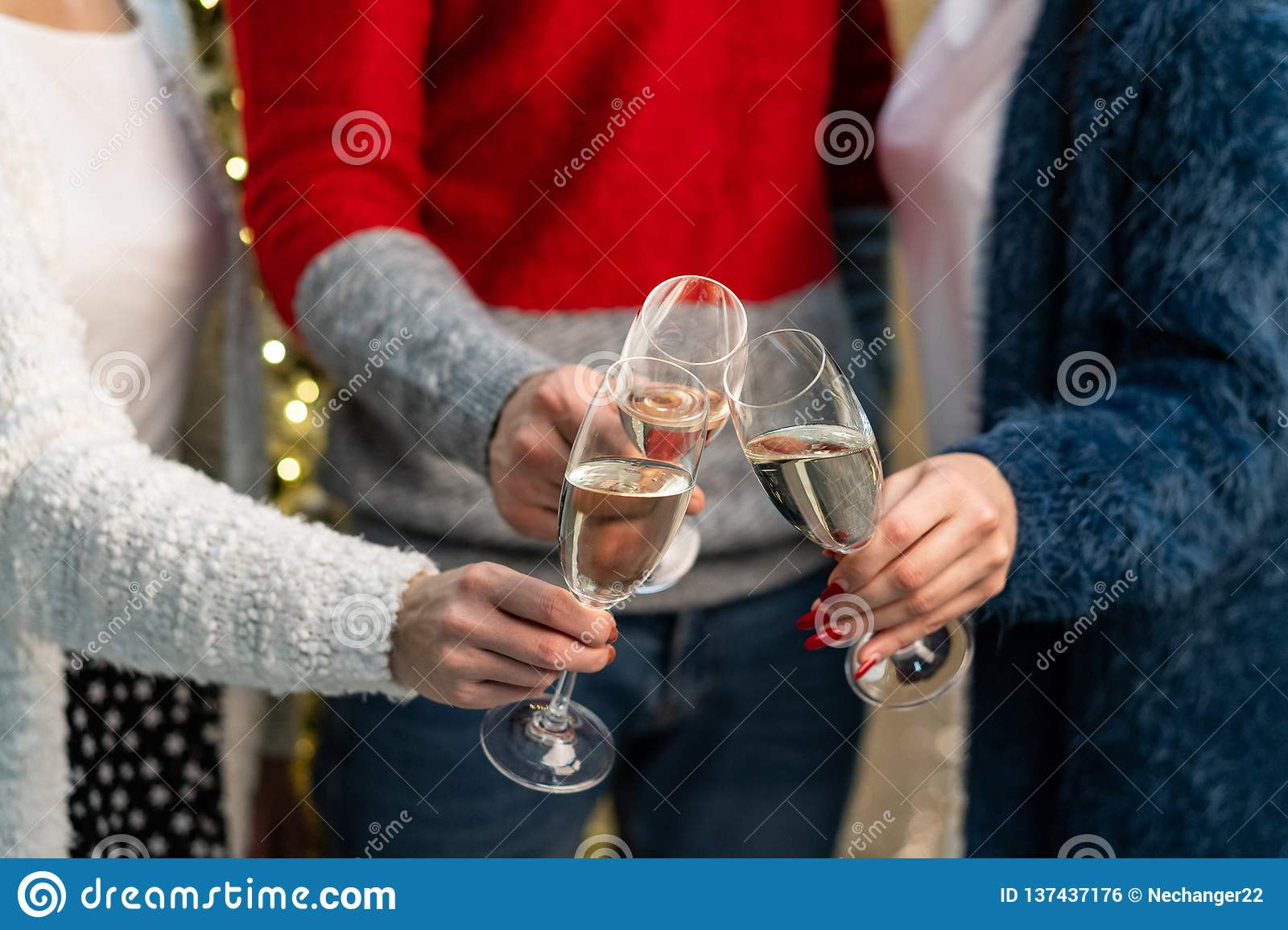 Close up of group of friends toasting with champagne fluters
