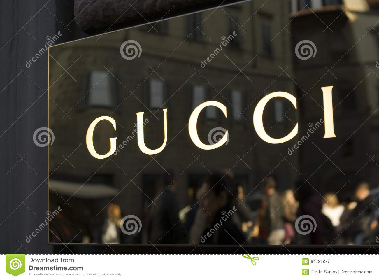 close up of gucci logo at store entrance editorial photography image 64739877. Black Bedroom Furniture Sets. Home Design Ideas