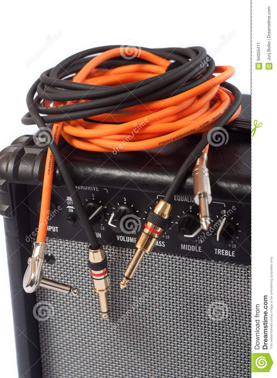 Close Up Of Guitar Amplifier With Jack Cable Stock Image Amp Speaker Wiring Download Bass