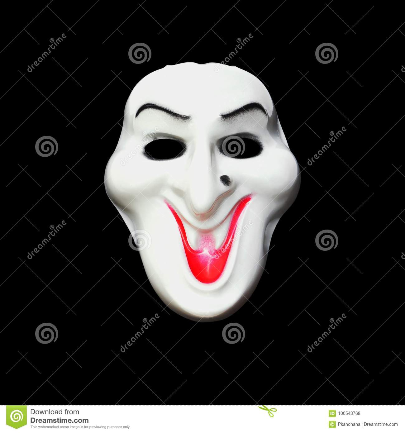 halloween mask with black fabric hood over white background stock