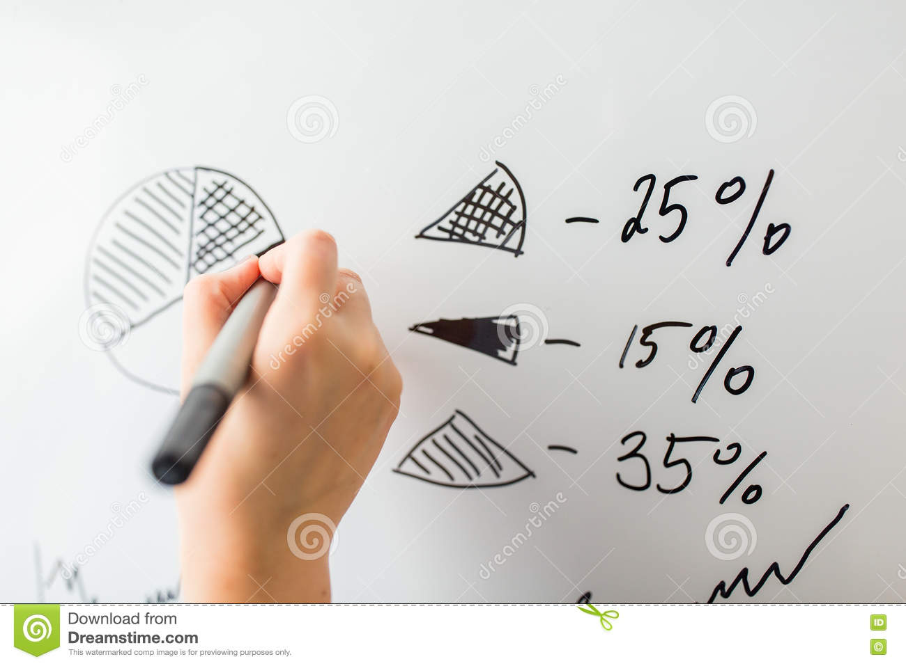 Close Up Of Hand Drawing Pie Chart On White Board Stock Image