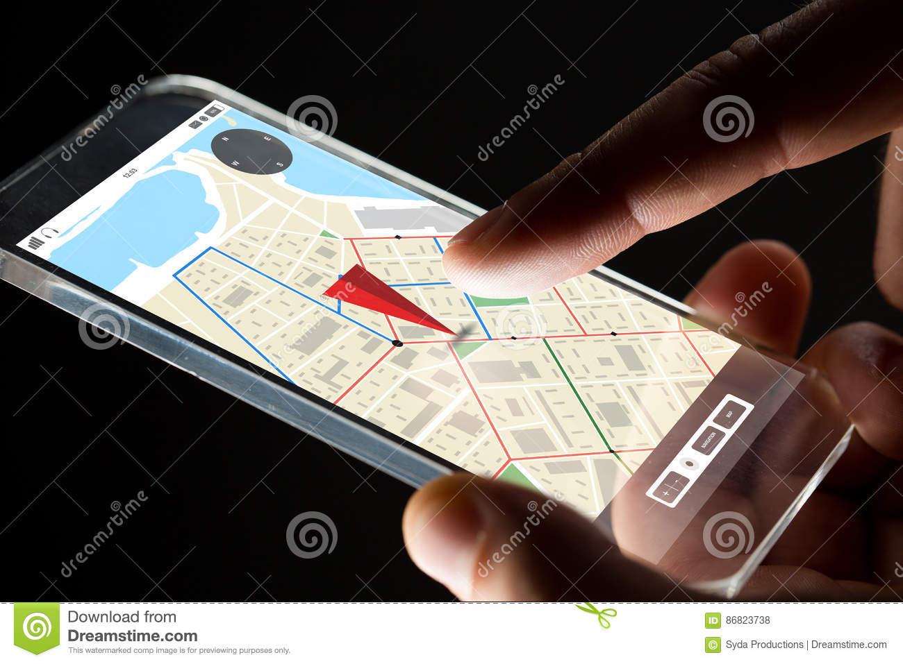 Close up of hand with gps map on smartphone