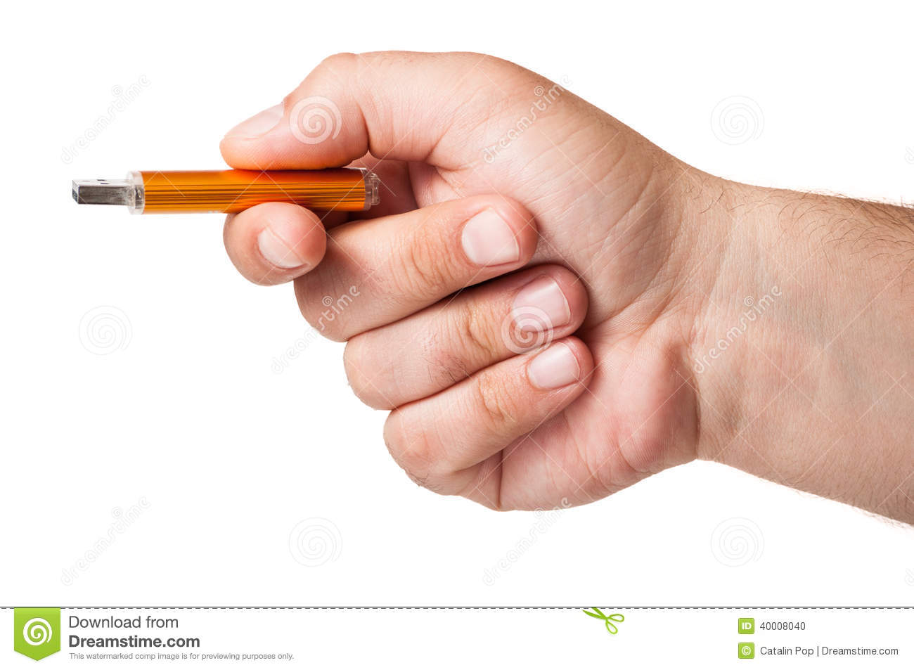 Hand Holding Stick ~ Close up with a hand holding memory flash drive stock