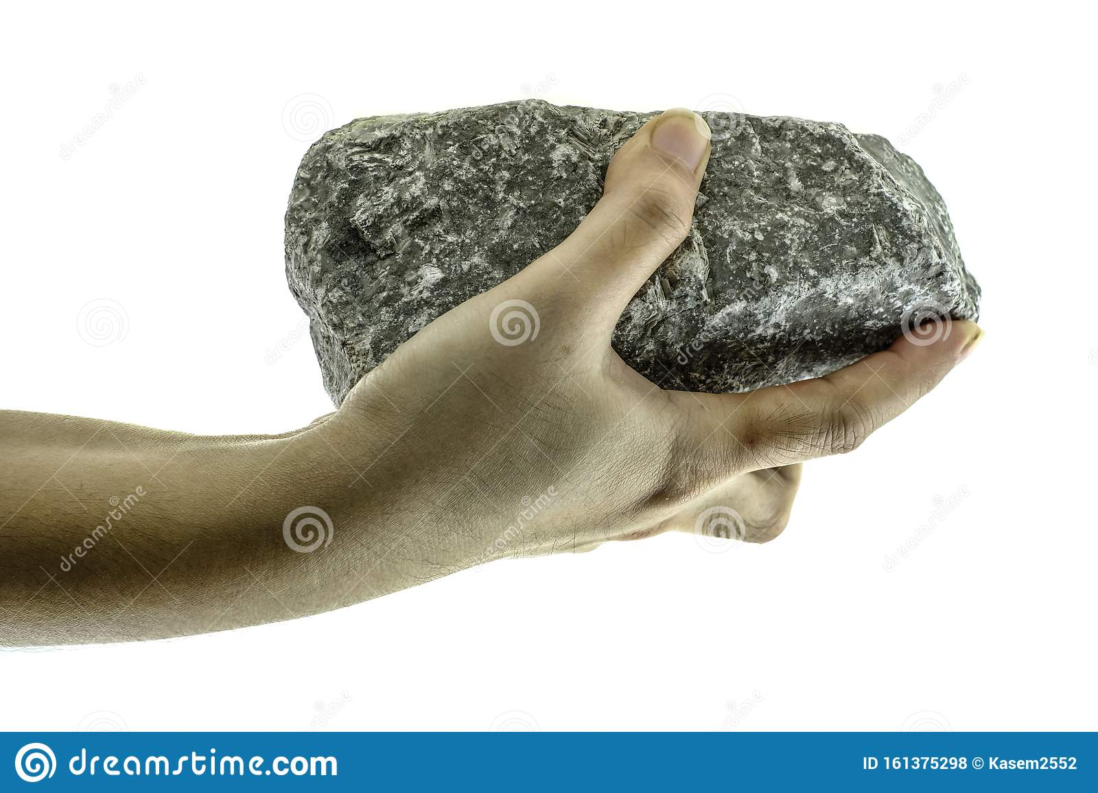 Close Up Hand Is Holding Stone At White Background Stock ...