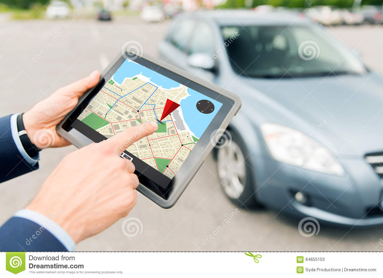 Close Up Of Hands With Gps On Tablet Pc And Car Stock Image