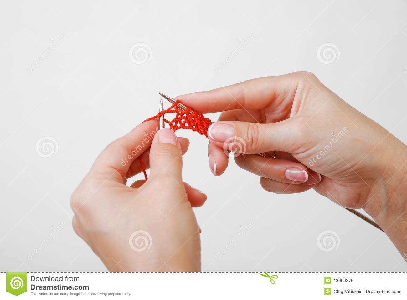 Knitting With Hands Only : Close up of hands knitting stock image scane
