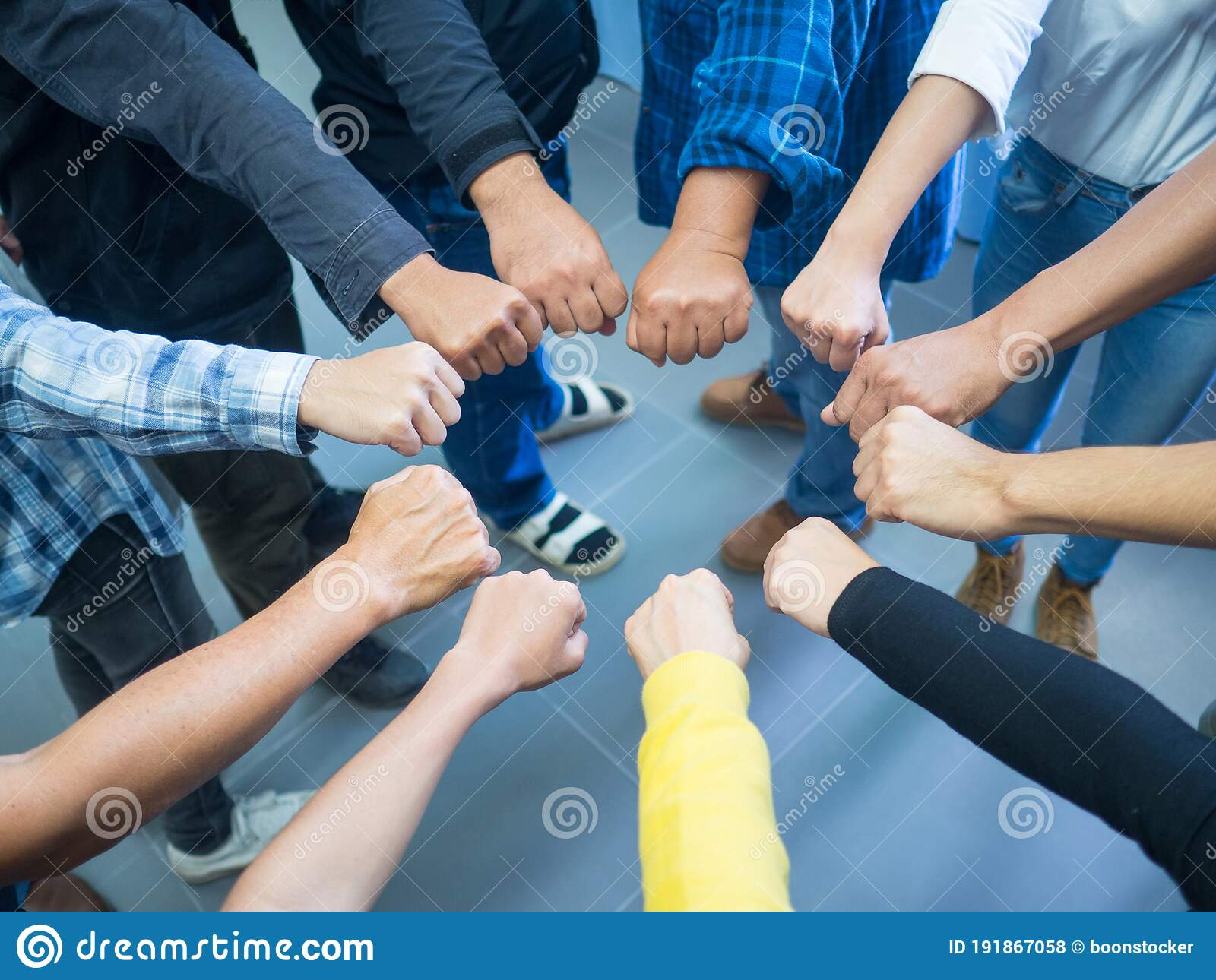 Many People Putting Their Fists Together As Symbol Of Unity Stock Photo Image Of Cooperation Human 191867058