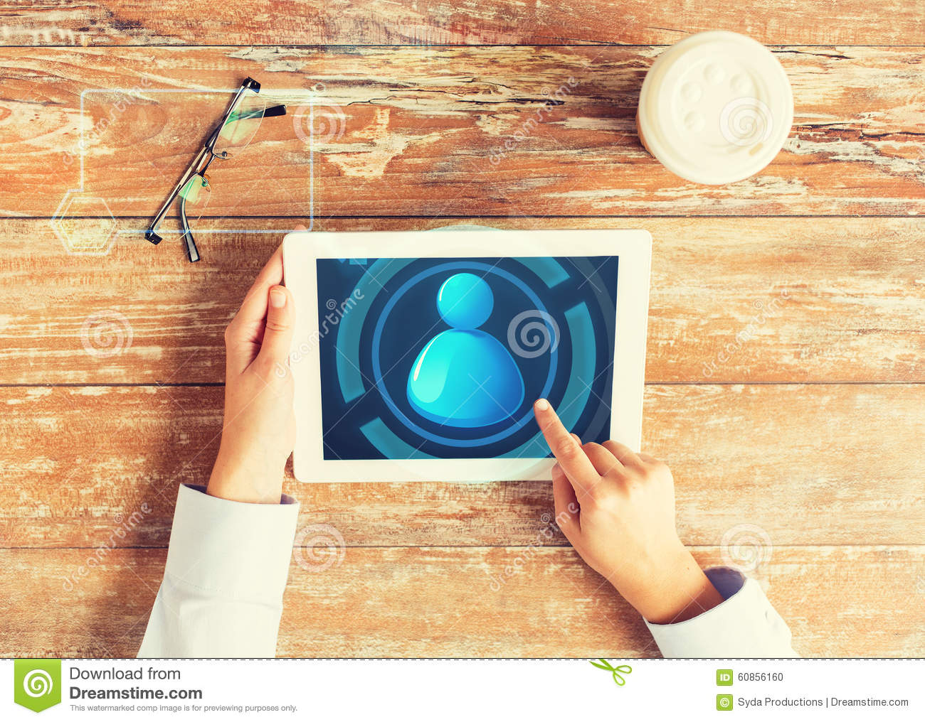Close Up Of Hands With User Icon On Tablet Pc Stock Photo ...