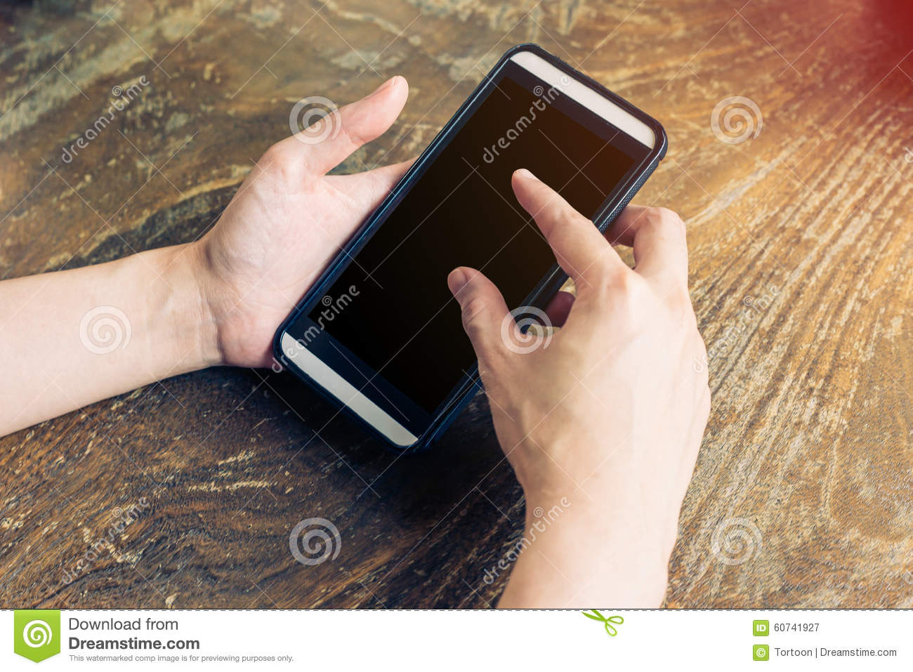 close up of hands woman using phone in coffee shop stock photo image 60741927. Black Bedroom Furniture Sets. Home Design Ideas
