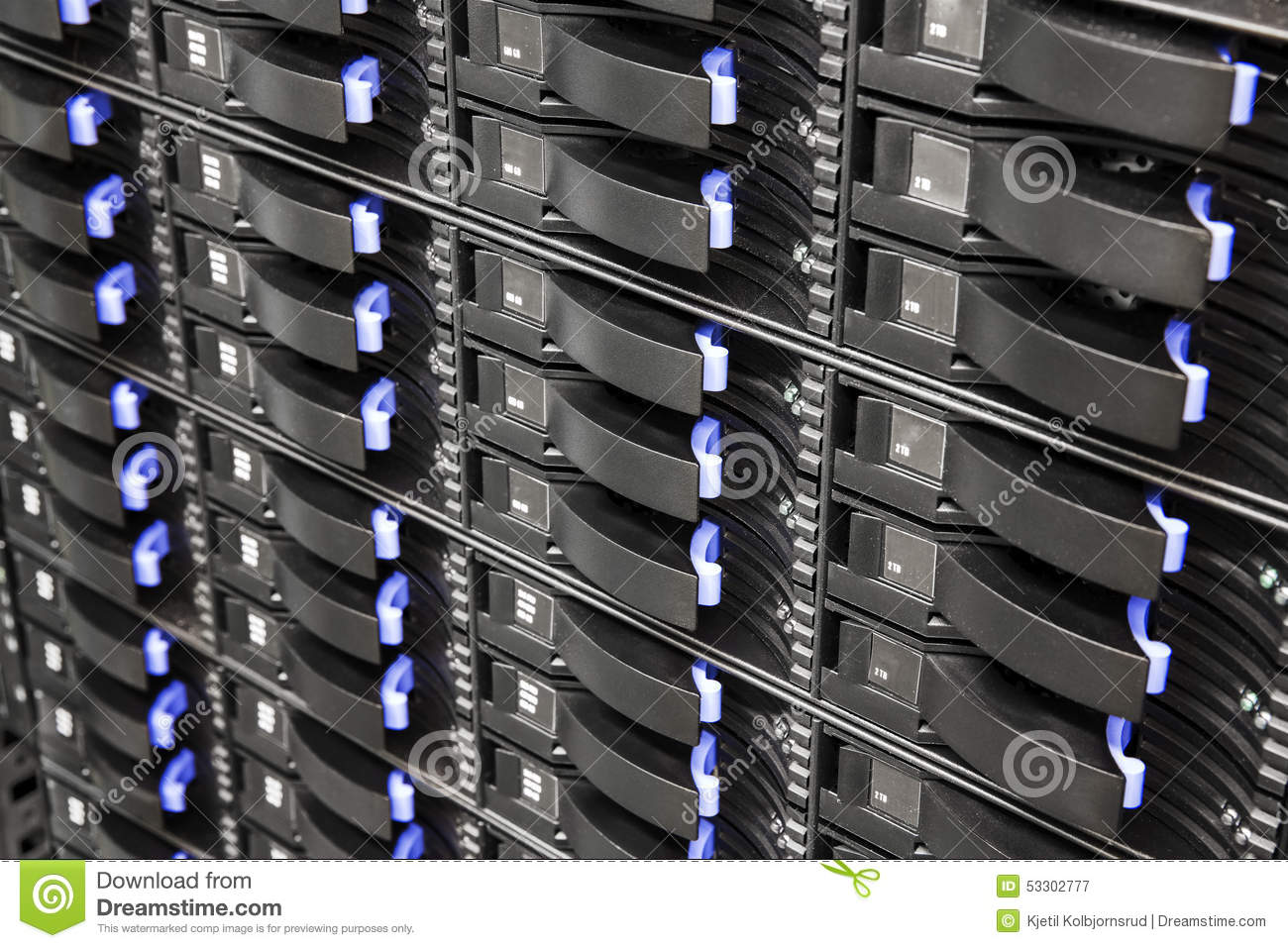 Close Up Of Hard Drives In Large SAN Storage Stock Photo - Image ...