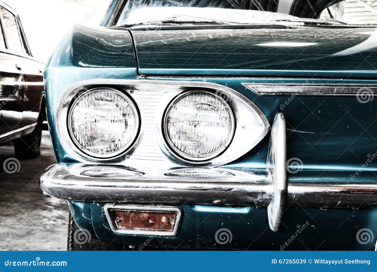 Vintage Auto Headlight Styles : Close up of headlight lamp vintage classic car royalty