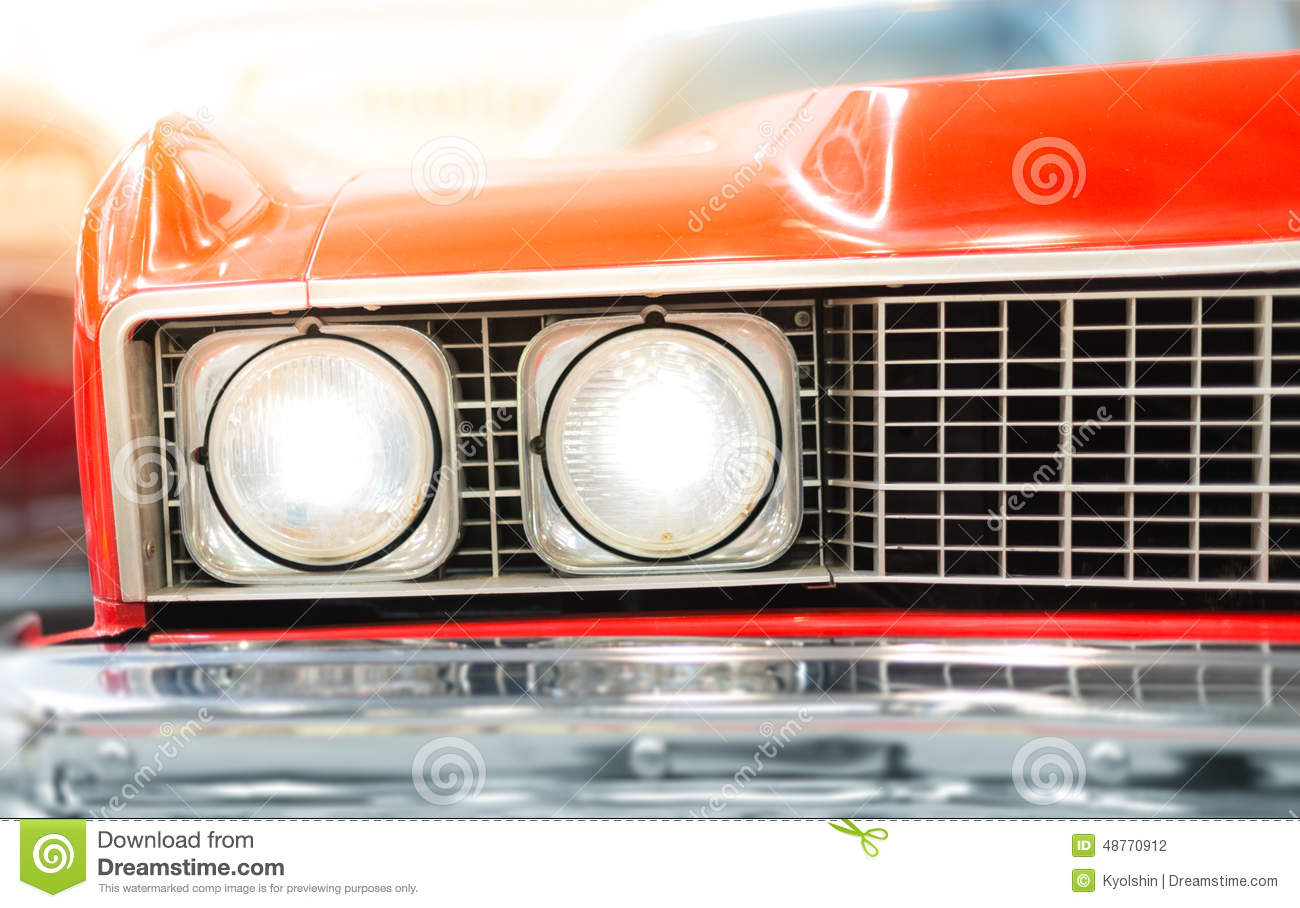 close up headlight of red retro classic car royalty free stock photo 80874621. Black Bedroom Furniture Sets. Home Design Ideas