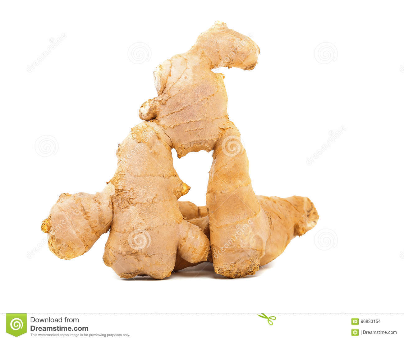 Close-up of a healthy and nutritious ginger root. A brown fresh root, on the white background.