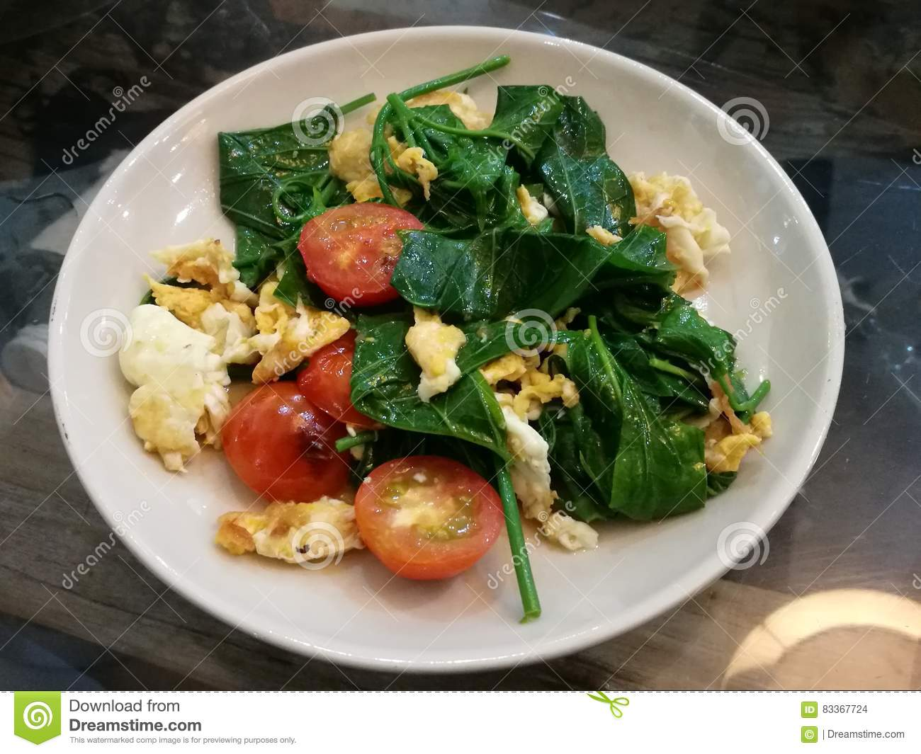 Close-up Healthy Stir-fry Vegetable With Tomato And Egg For