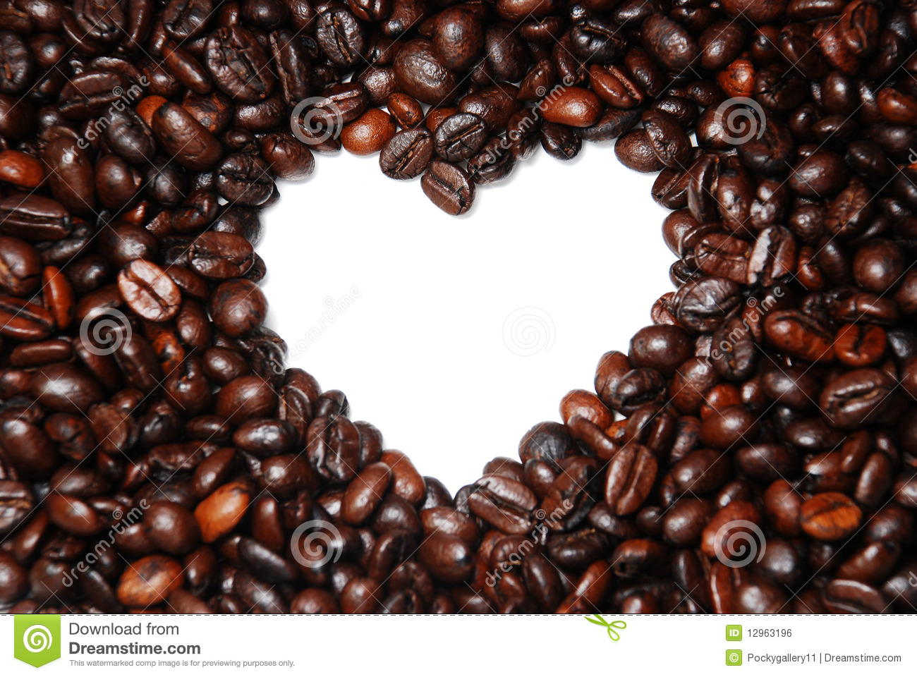 Close Up Heart Shape Coffee Bean Stock Photo Image 12963196