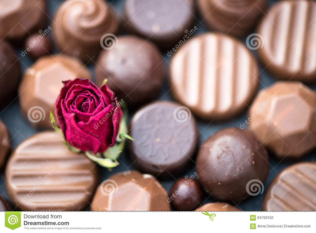 Close Up Of Heart Shape Made With Various Types Of Chocolate Tru ...