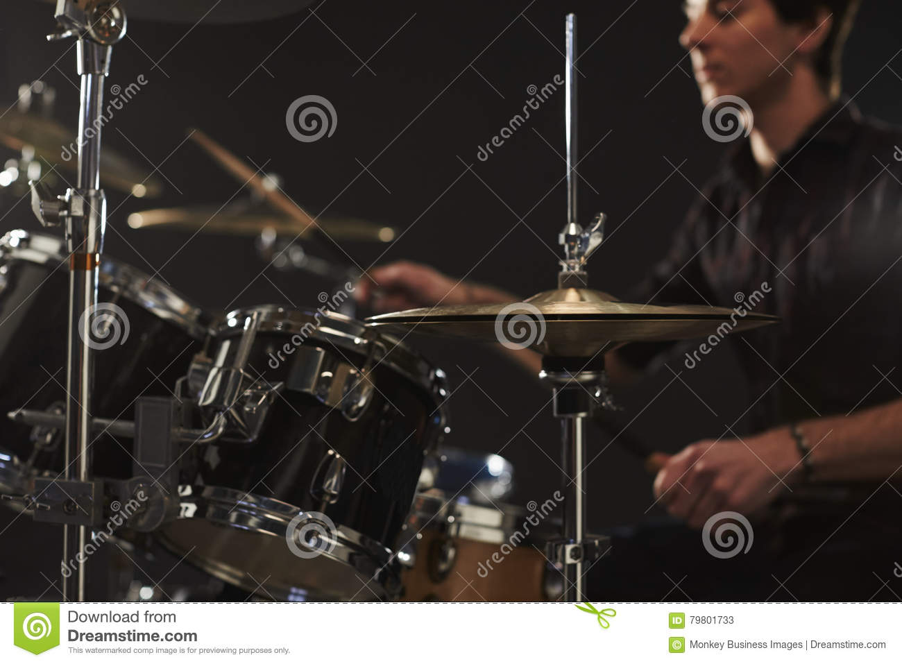 Close Up Of High Hat Cymbals On Drummer s Drum Kit