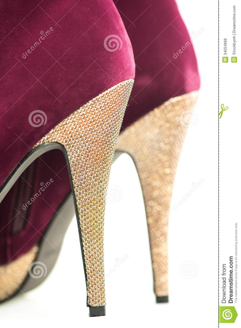 ebd63af091b Close Up Of High Heels Shoes In Red And Shiny Gold Stock Photo ...