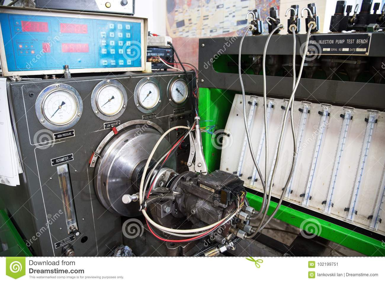 Close Up High Pressure Diesel Fuel Pump Test Bench Stock Image Download Of