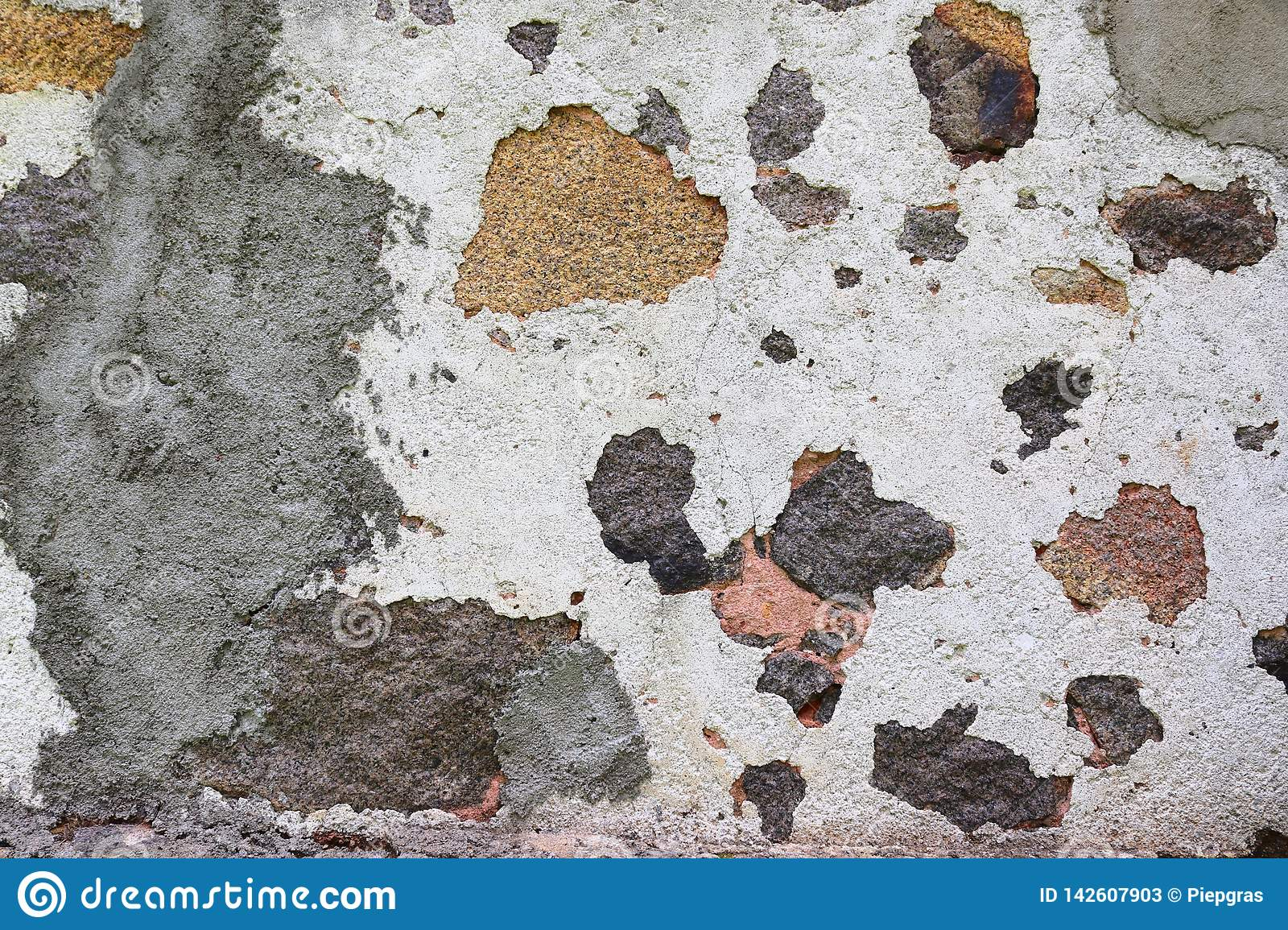 Close up high resolution surface of aged and weathered paint on a wall
