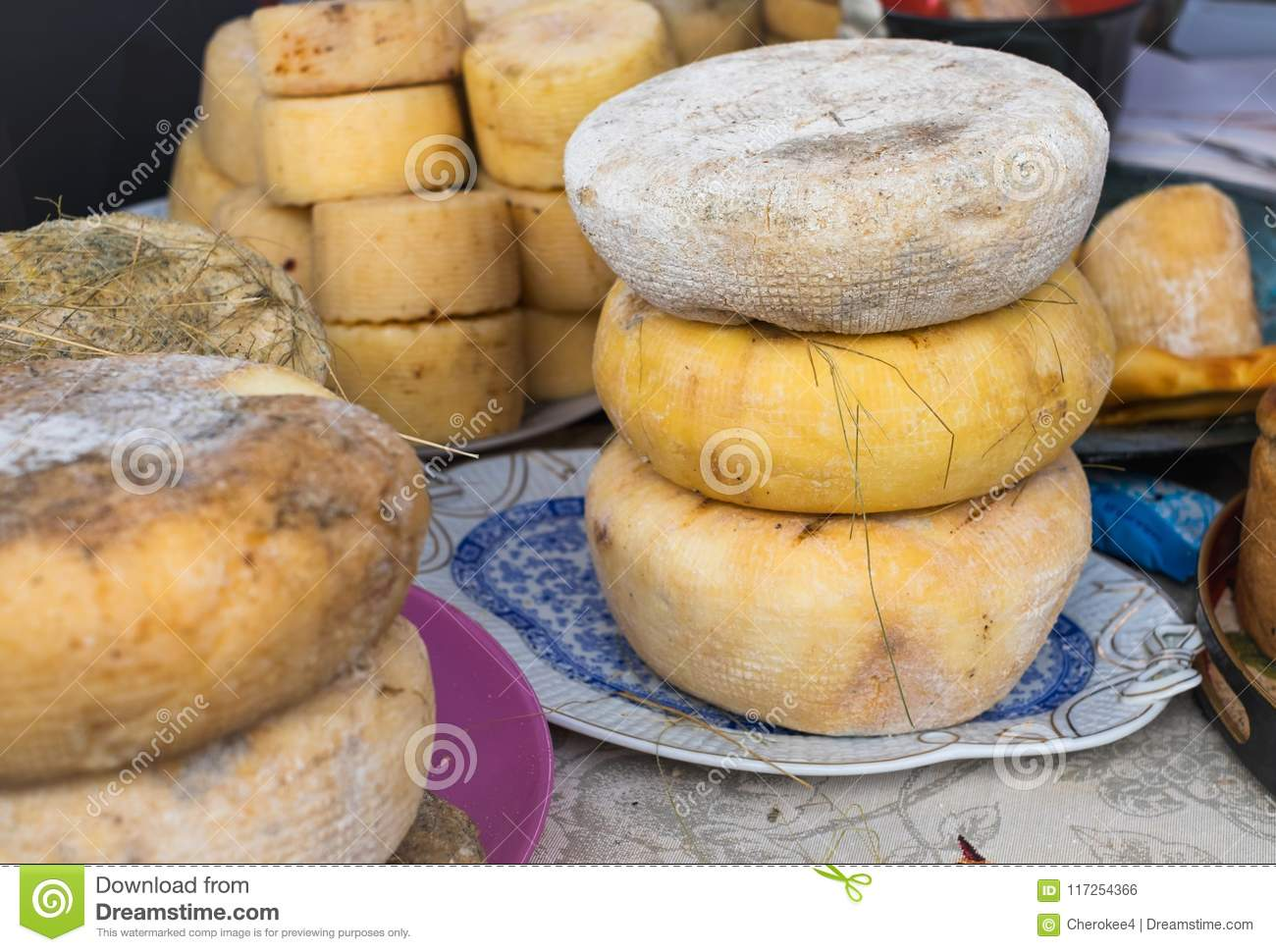 Close-up Of Homemade Organic Farm Cheese For Sale At The