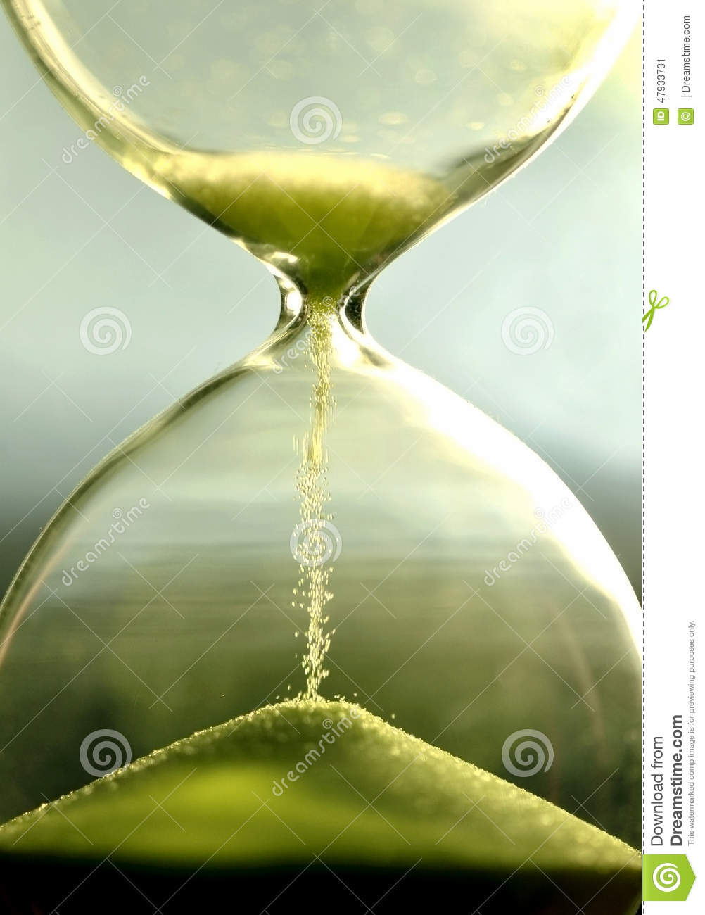 Close Up Hourglass Counting Down Time With Sand View Stock