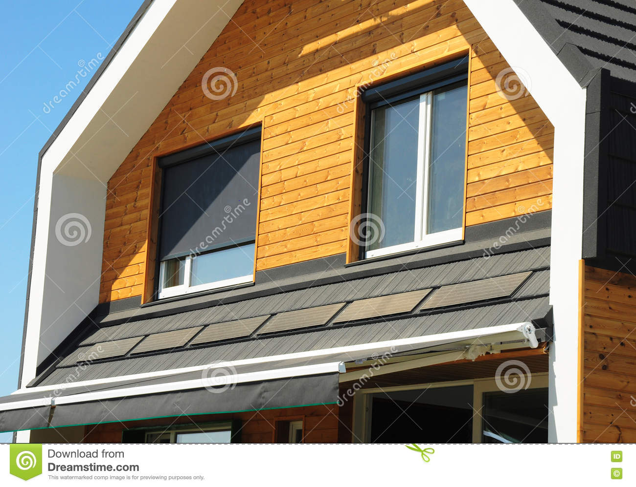 Close Up On House Blinds Sun Protection Exterior Windows In New Modern Passive House Facade