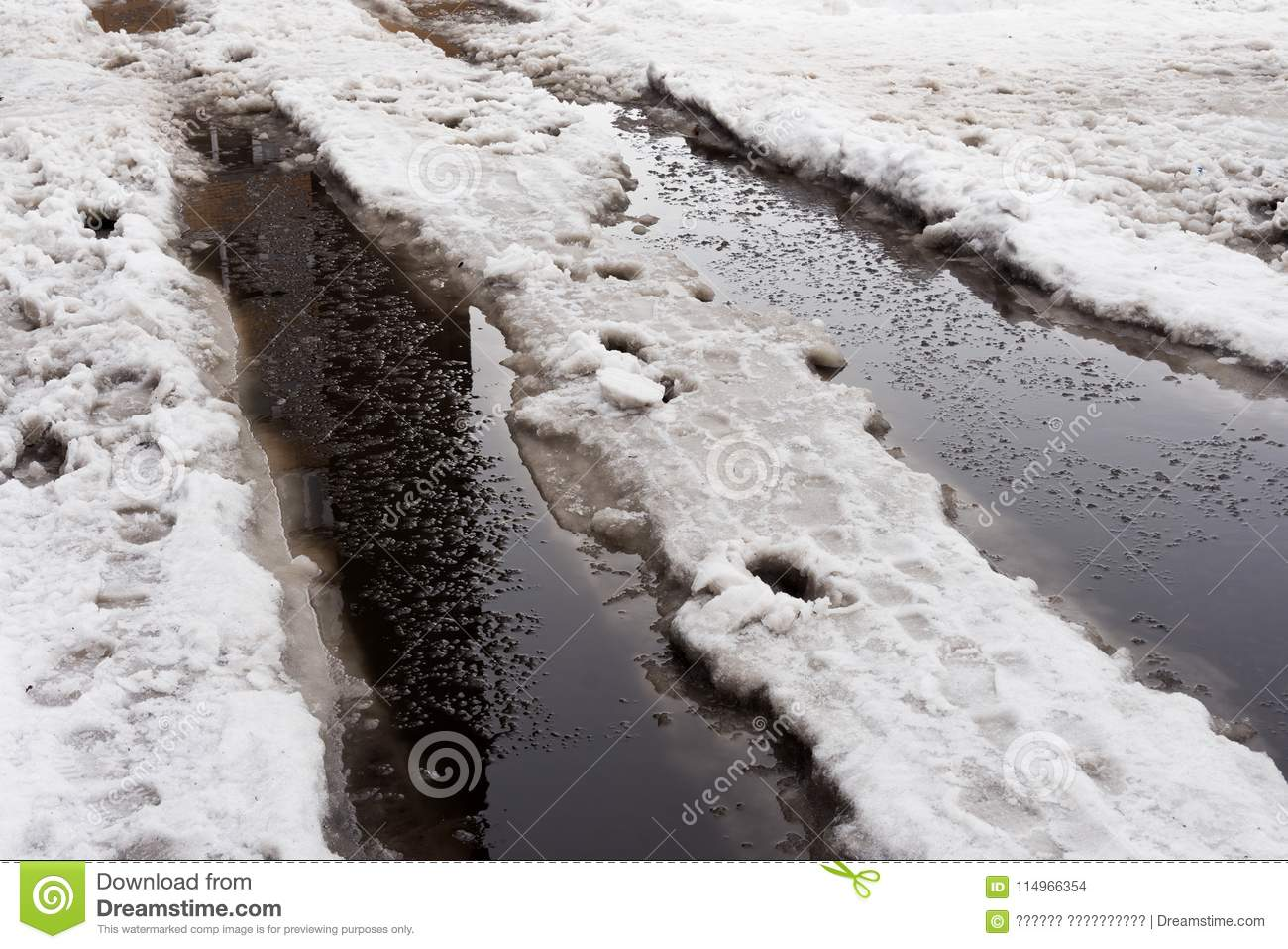 Close-up of huge puddles of snow on city streets.