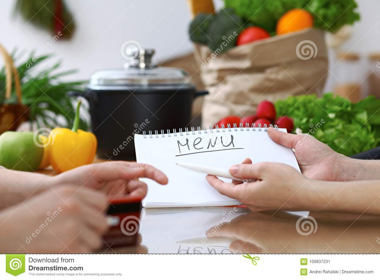 Close-up Of Human Hands Pointing Into Note Book Copy Space Area In ...