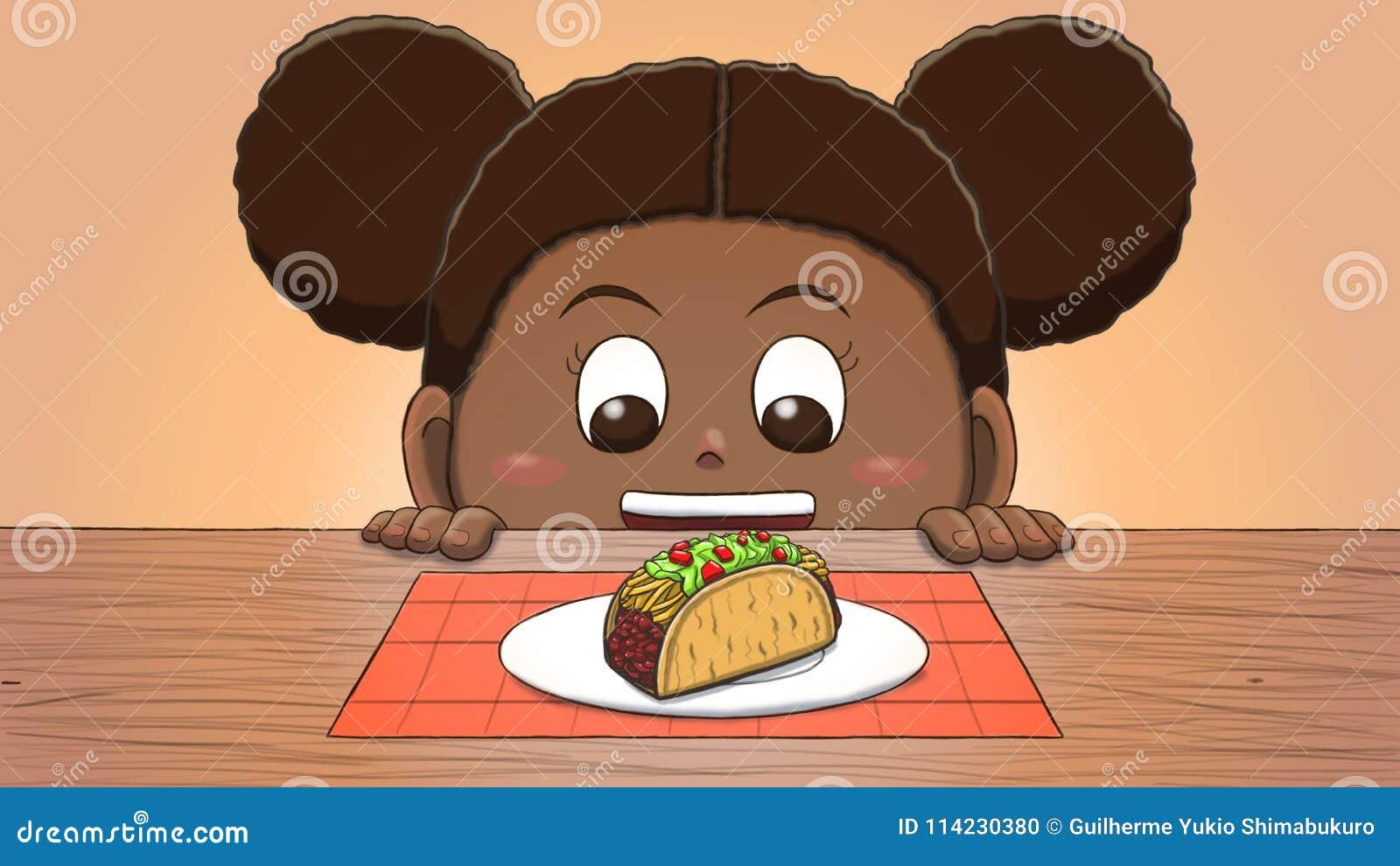 black girl looking at taco stock illustration illustration of