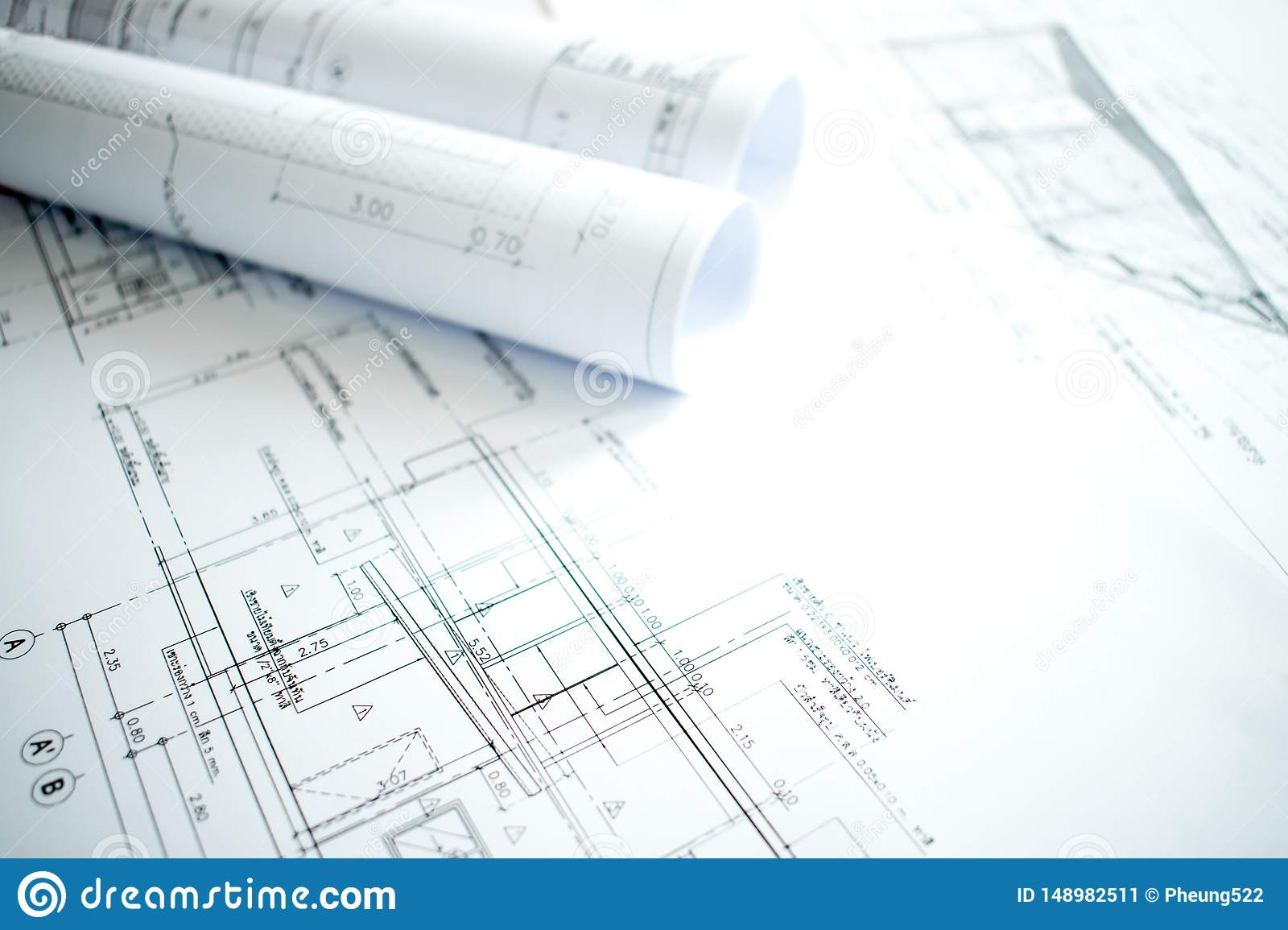 Close-up image of architecture with details of construction and design on the engineer table