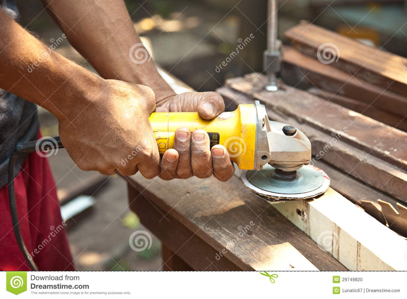 Hand Holding Wood Grinder Stock Photo Image 29749820