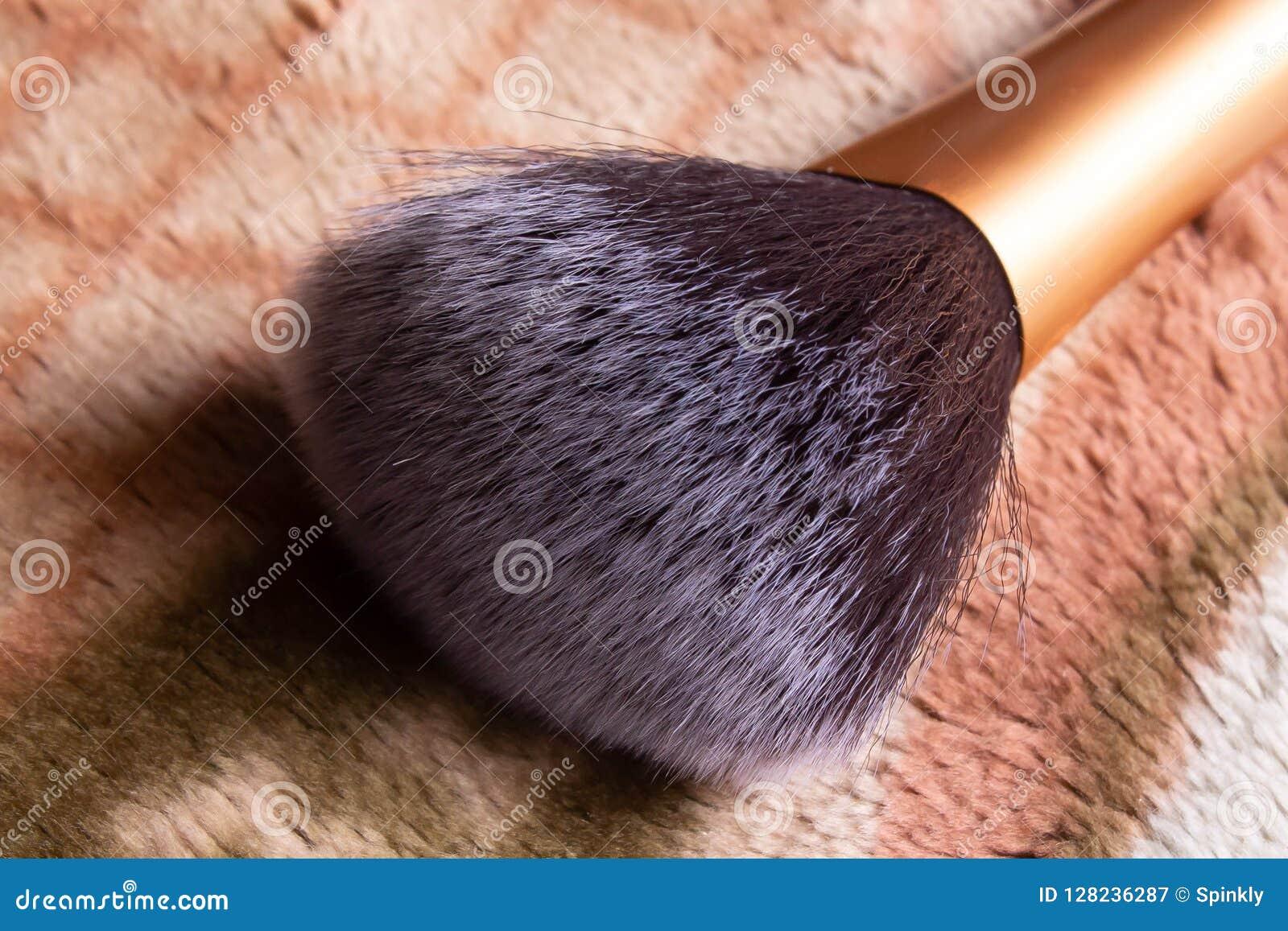 Close up image of makeup brush bristle