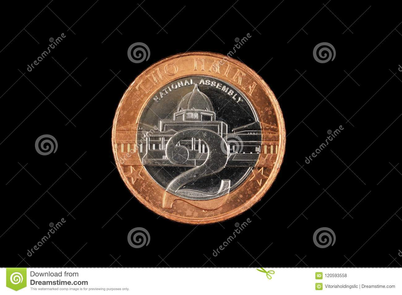 Nigerian Two Naira Coin Isolated On A Black Background Stock Photo