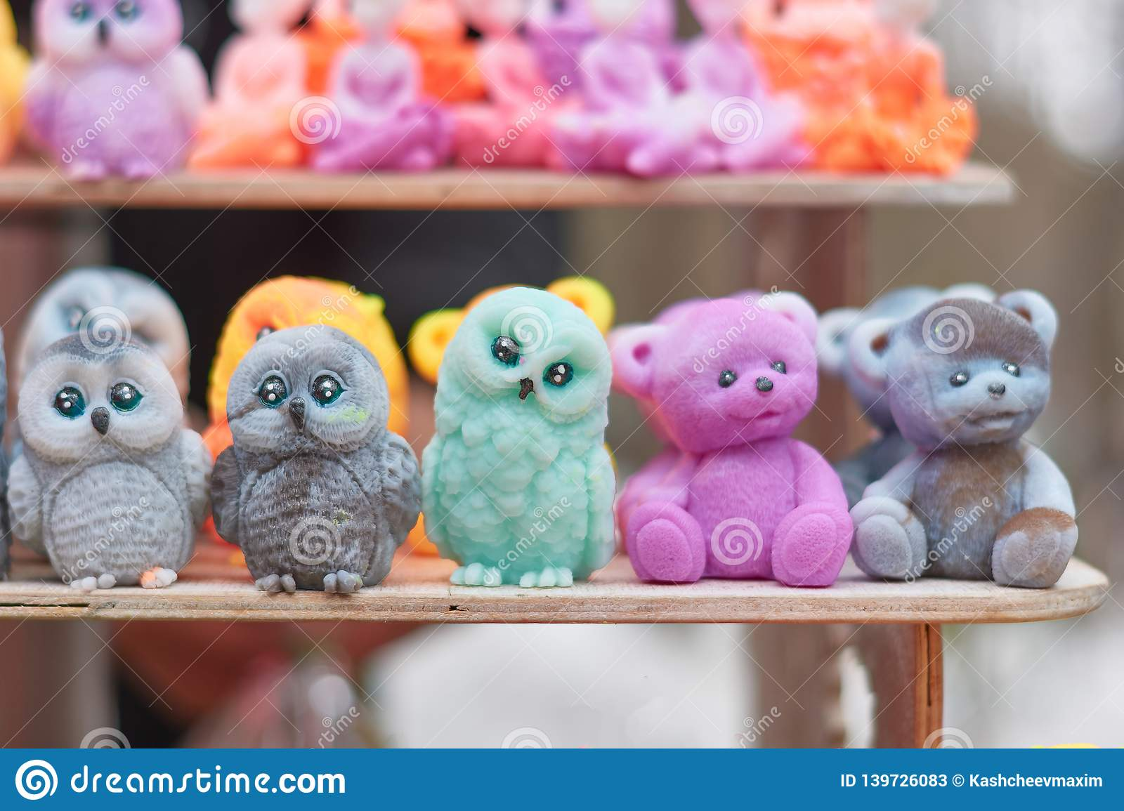 Close up image of owls made of soap