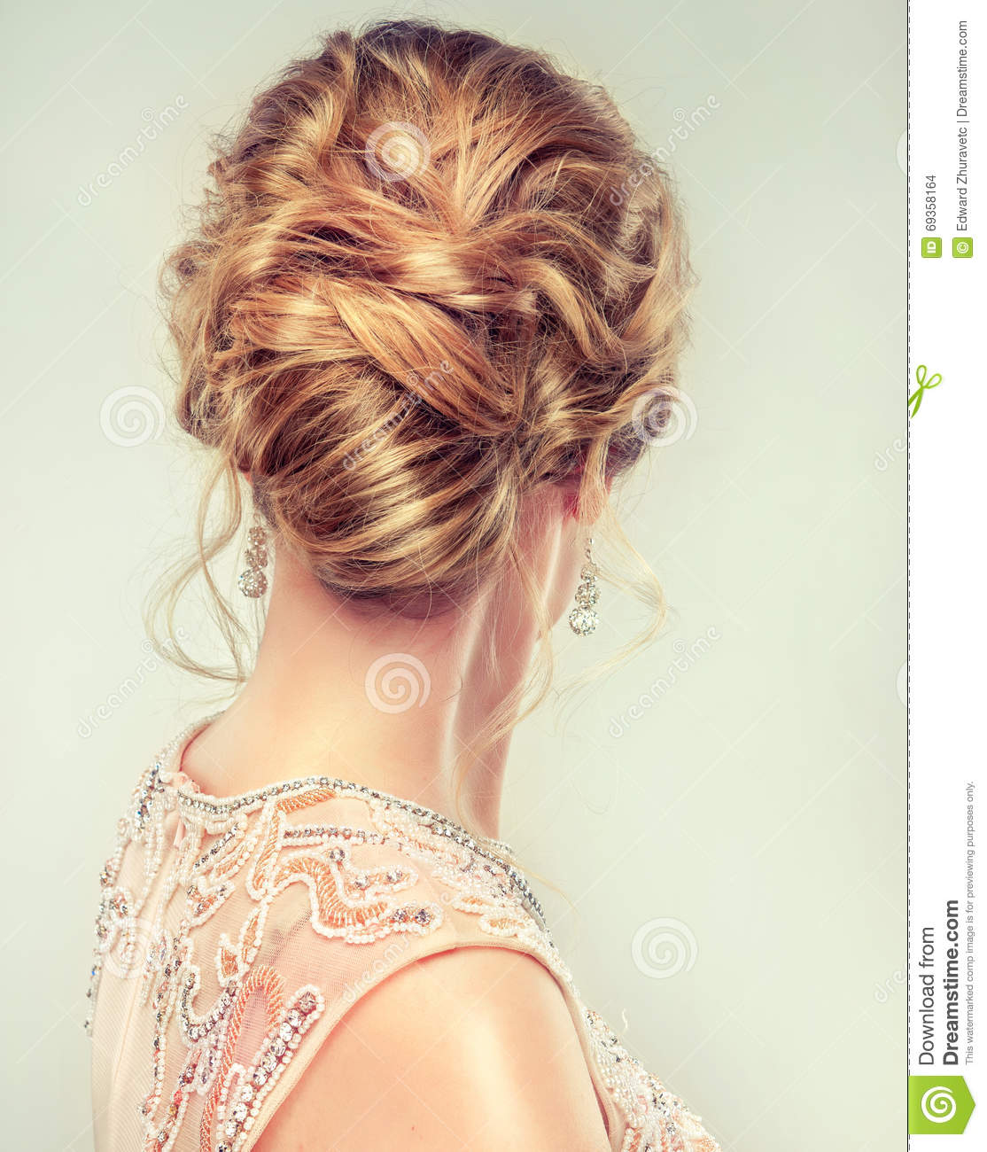 Close Up Image Of Wedding And Evening Hairstyle Stock Photo Image
