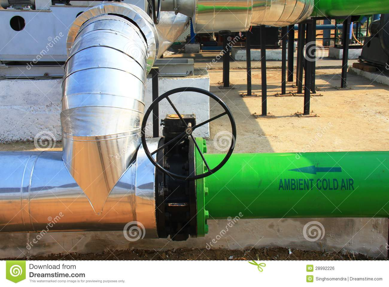 Industrial Air Pipes : Close up of a industrial hot air fan stock photo