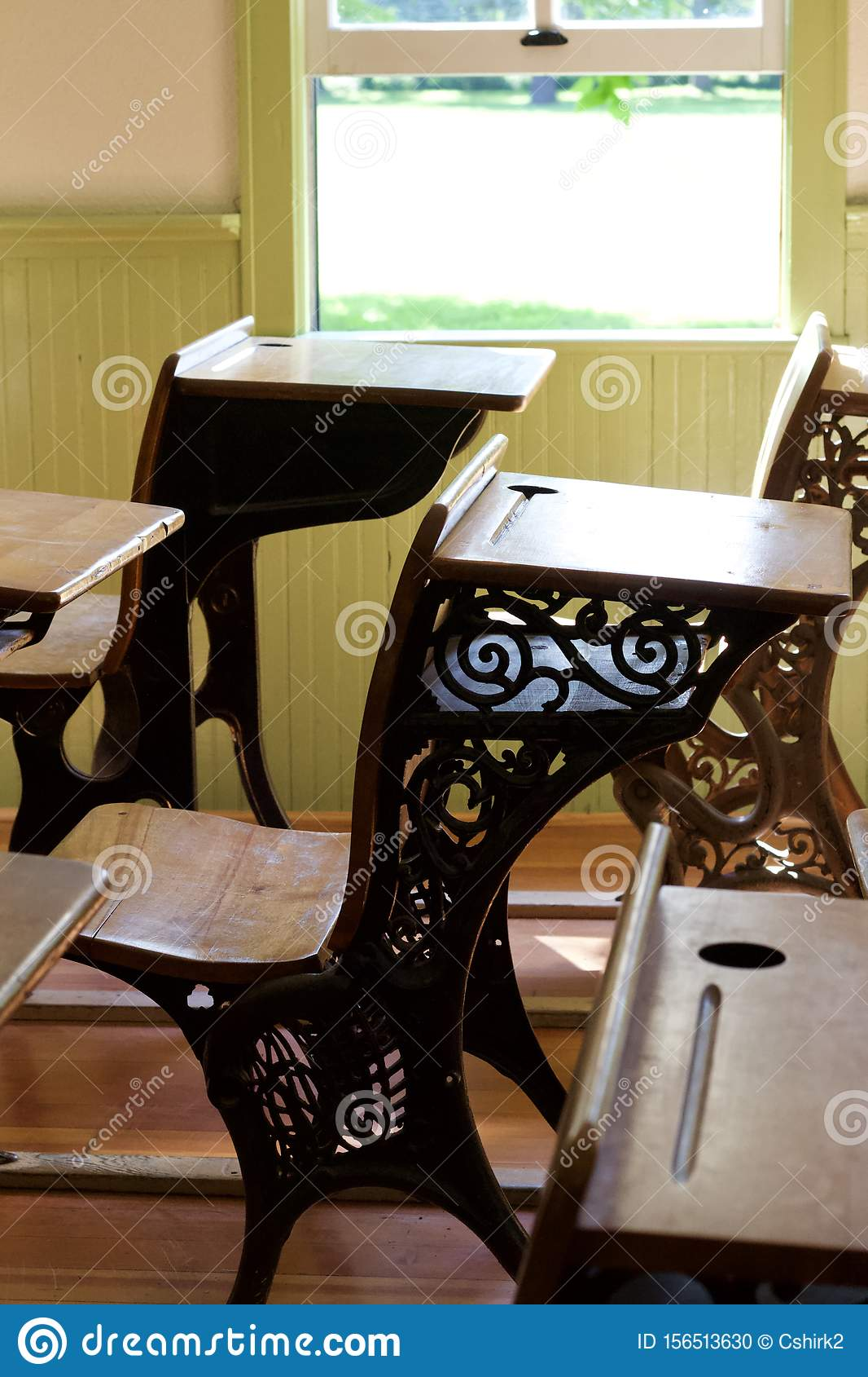 Close Up Interior View Old 50th Century Student Desks In A