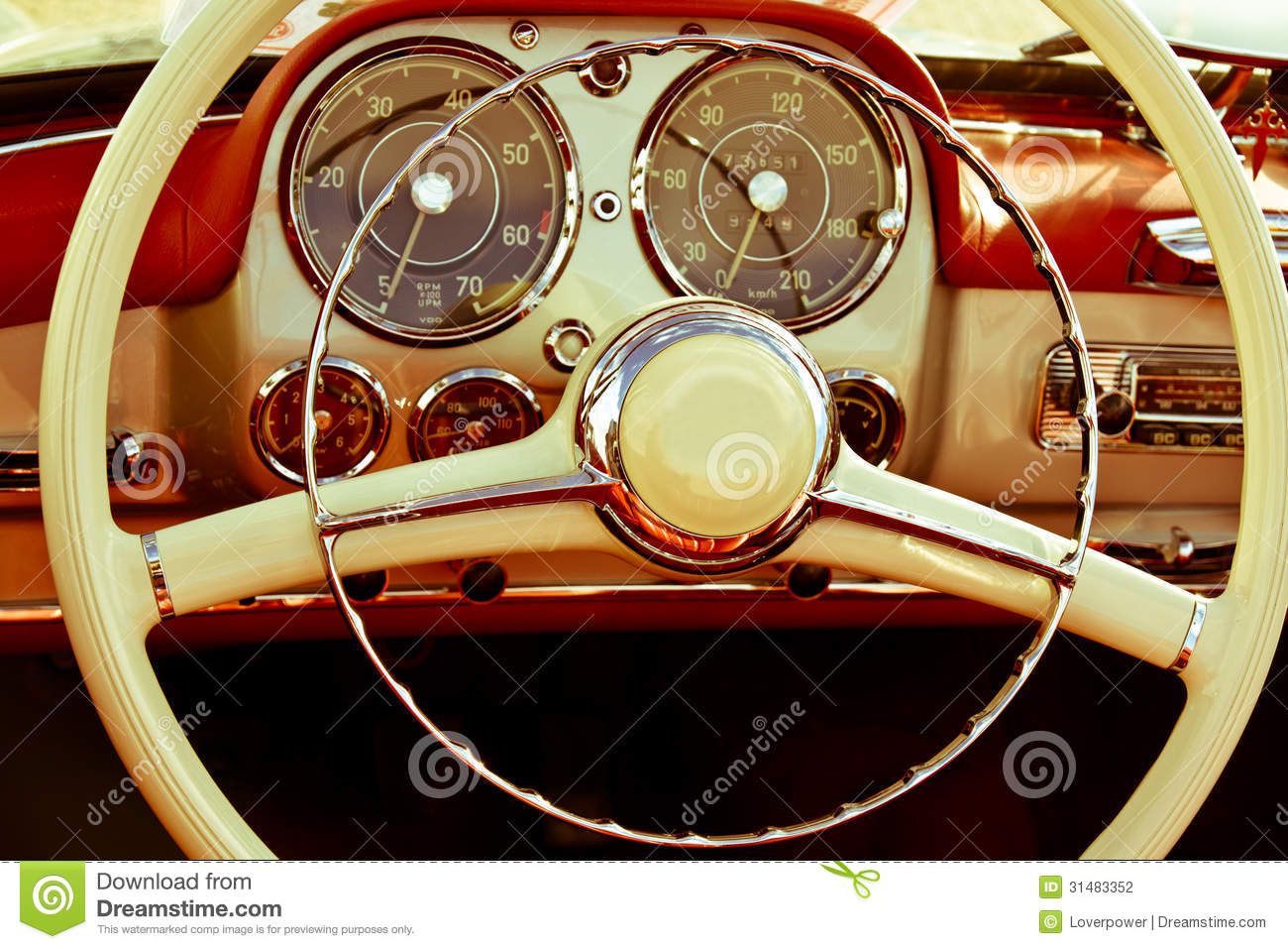 Close Up Interior Vintage Car Editorial Photography