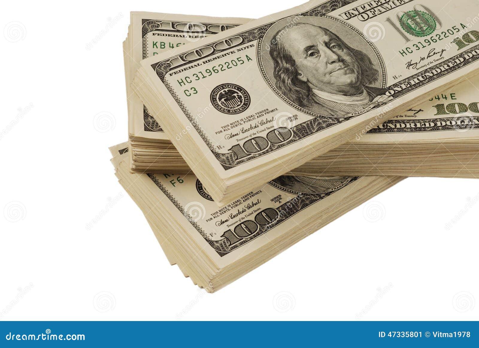 Close up isolado dinheiro da cédula do dólar