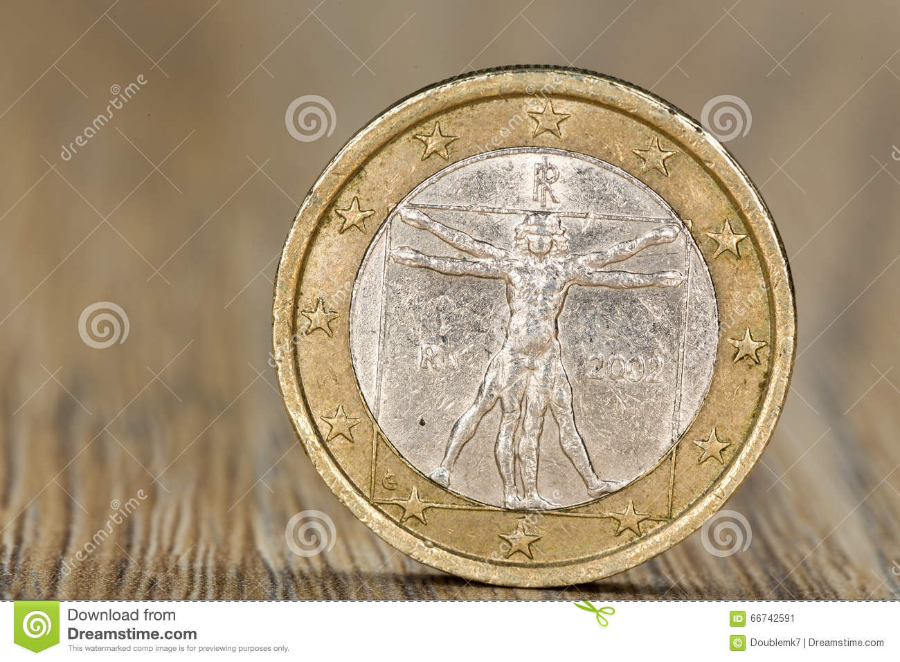 Close up of a Italian one euro coin