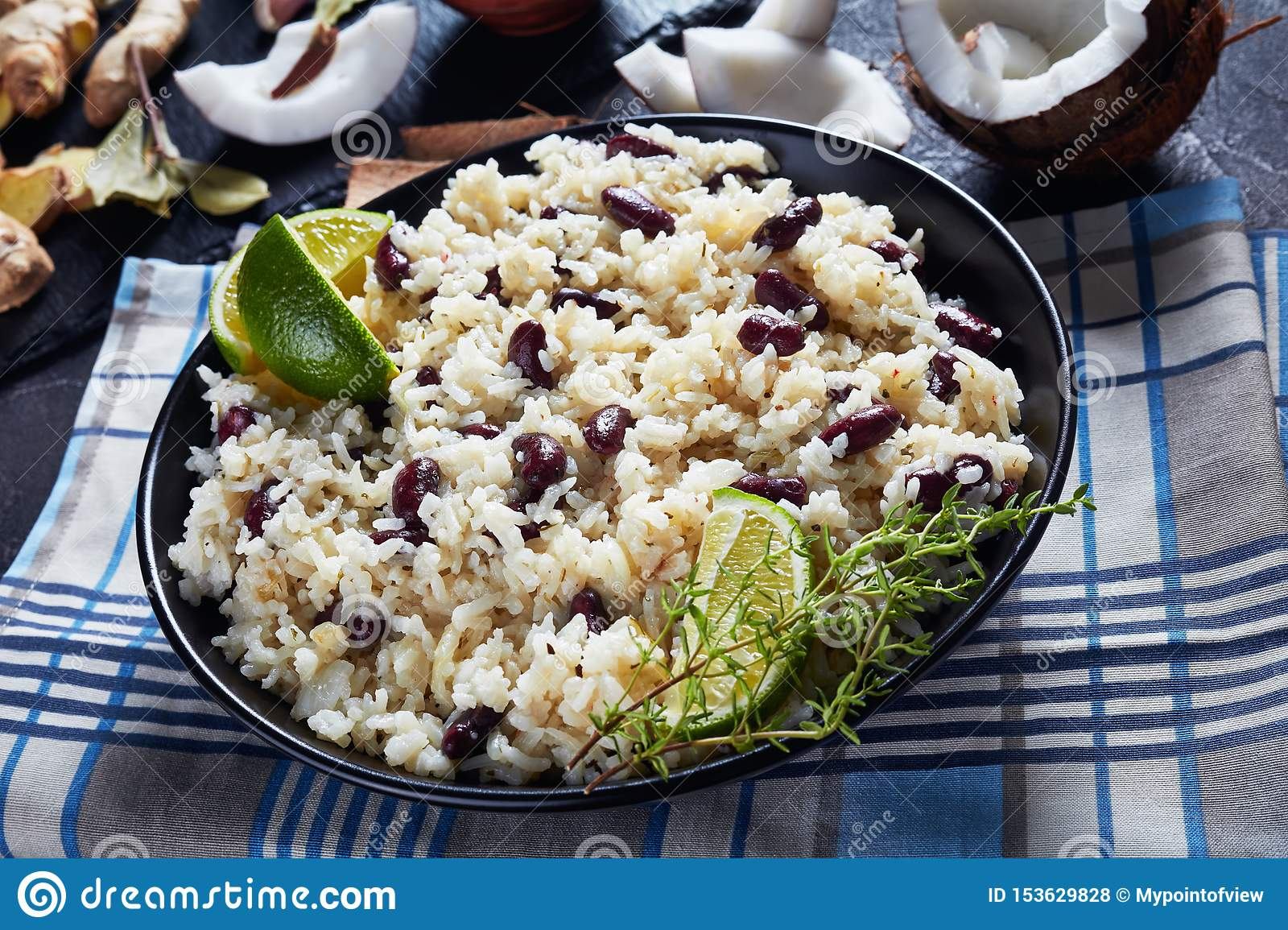 closeup of jamaican rice and red beans stock photo