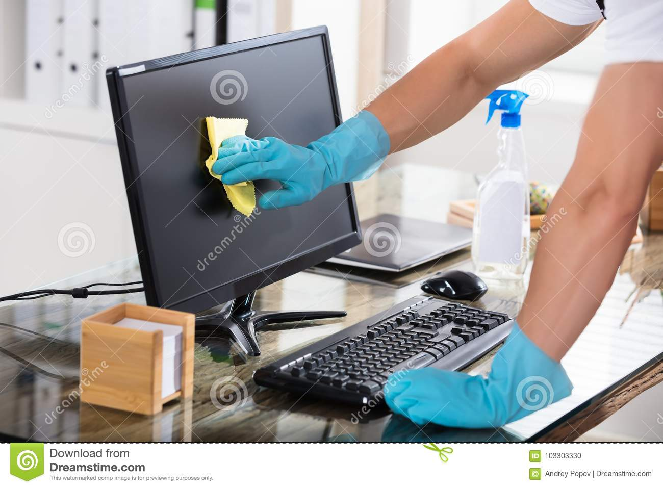 close up of a janitor cleaning computer screen stock photo image of office gadget 103303330. Black Bedroom Furniture Sets. Home Design Ideas