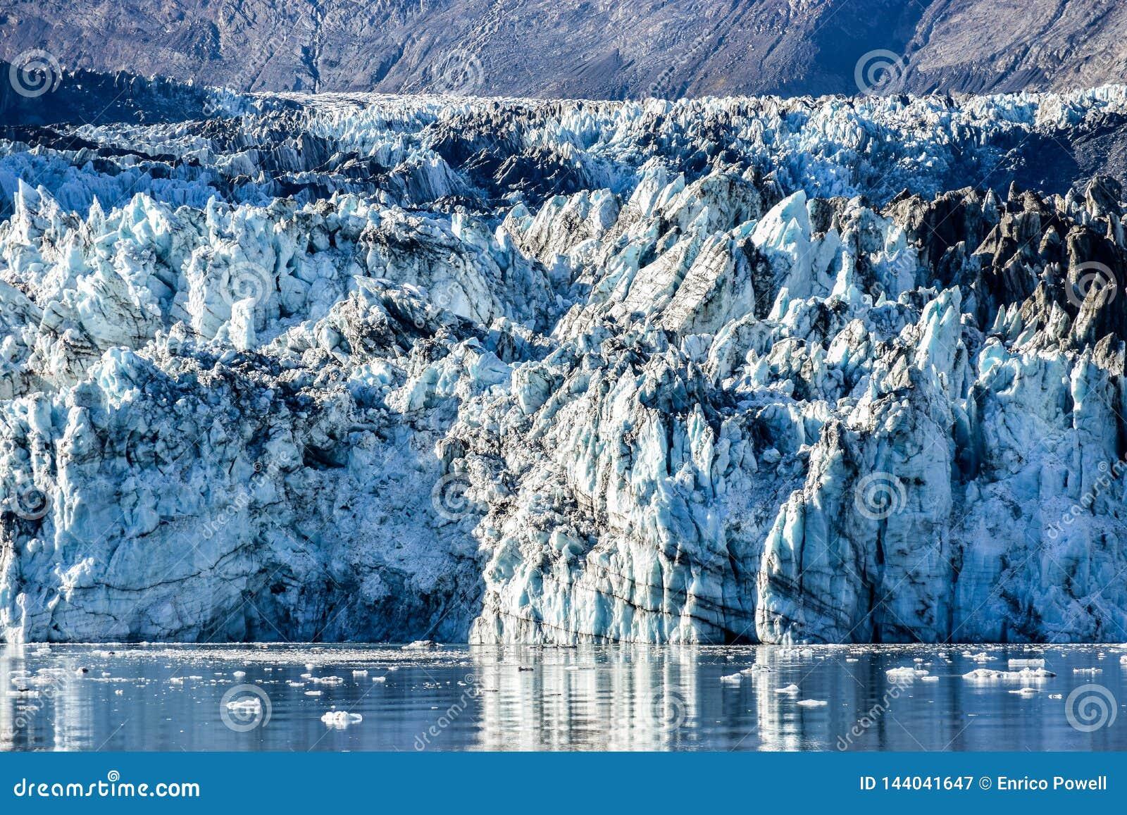 Detail features of the Johns Hopkins Glacier in Alaska Glacier Bay