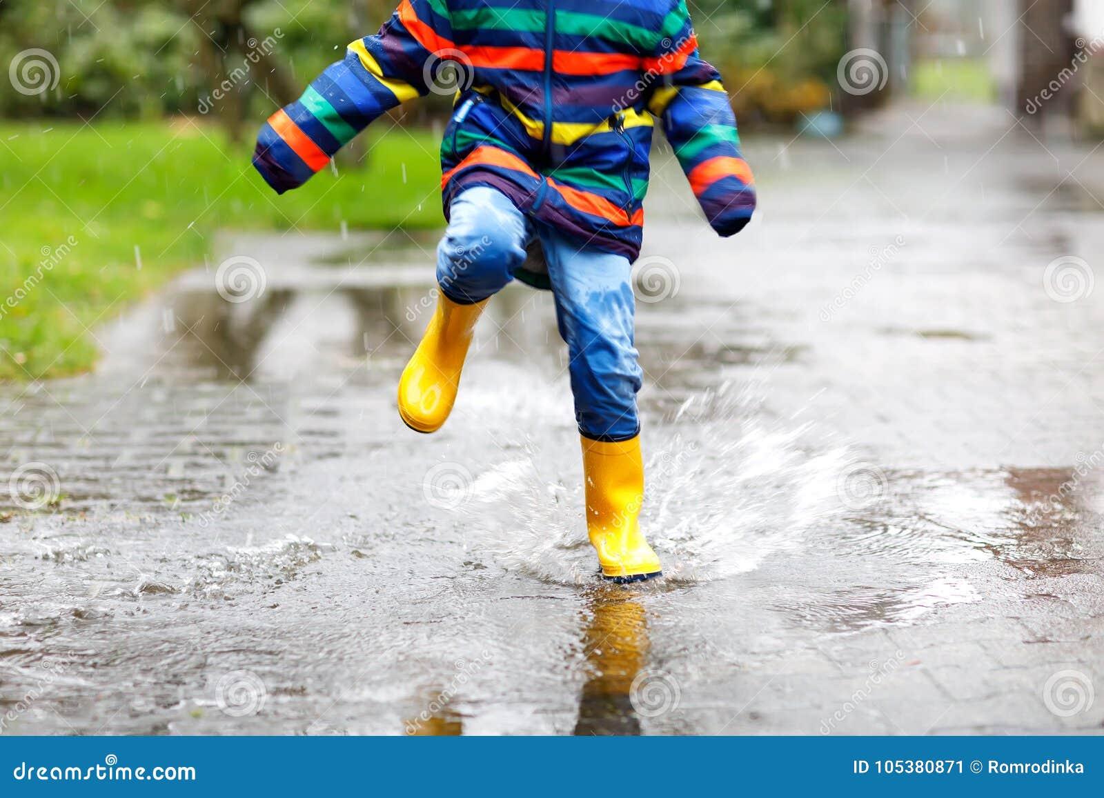 Kid Wearing Yellow Rain Boots