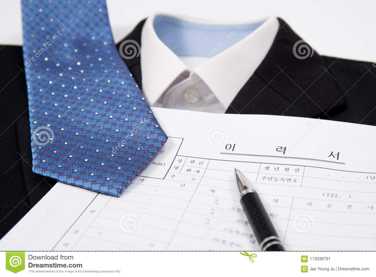 a close up of the korean resume business concept stock image