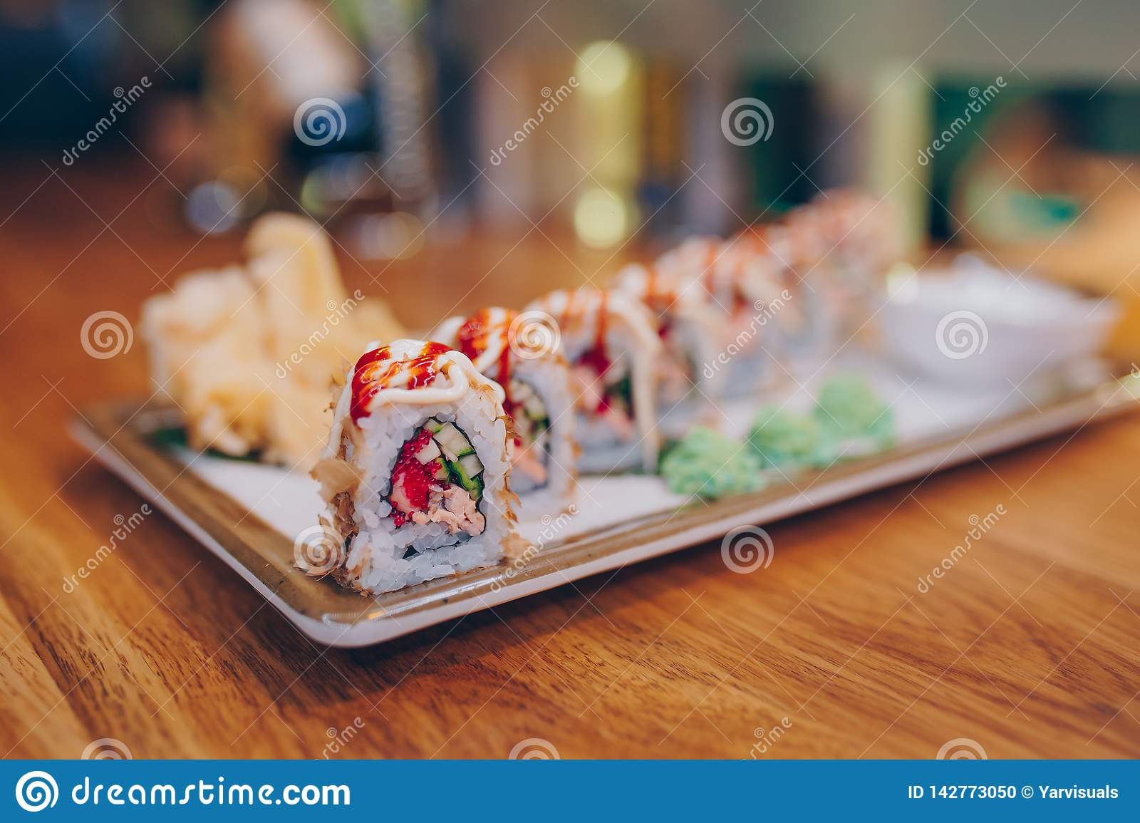 Close Up Kyoto Eel Smoked Philadelphia Red Green Dragon California Ebi Roll Rainbow Set Rolls Assorti In Night Dining Restaurant Stock Photo Image Of Delicious Lunch 142773050