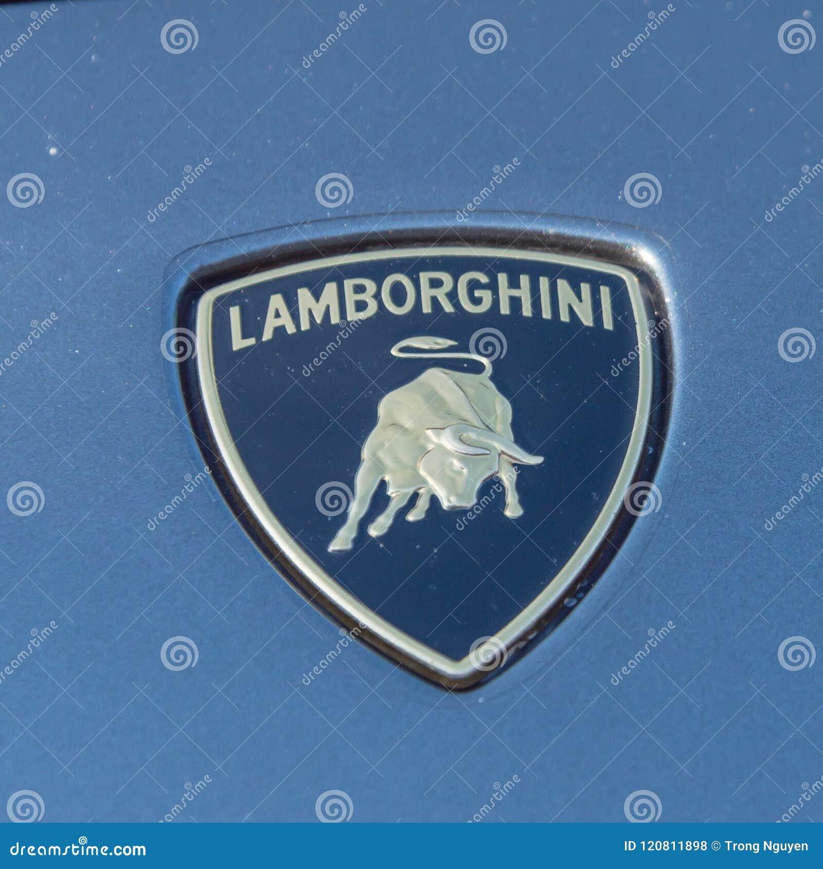 Close Up Lamborghini Logo On Grey Aventador Editorial Stock Photo