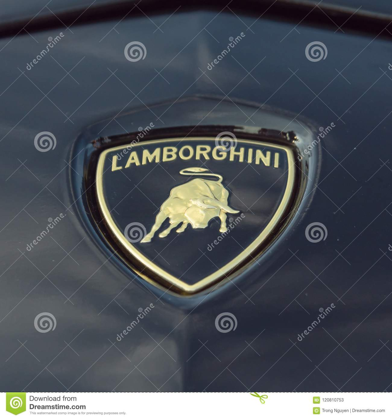 Close Up Lamborghini Logo On 2018 Rose Gold Chrome Aventador