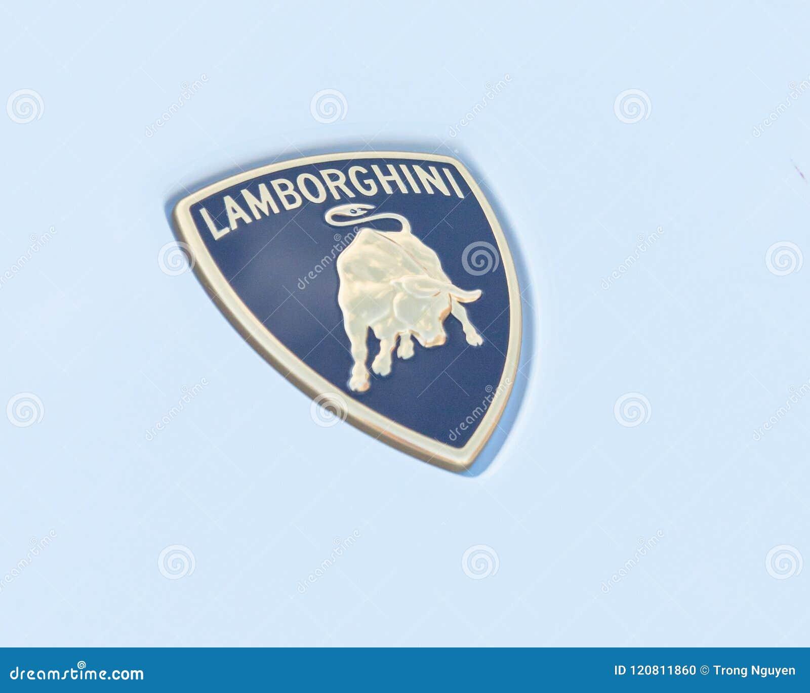 Close Up Lamborghini Logo On White Aventador Editorial Image Image